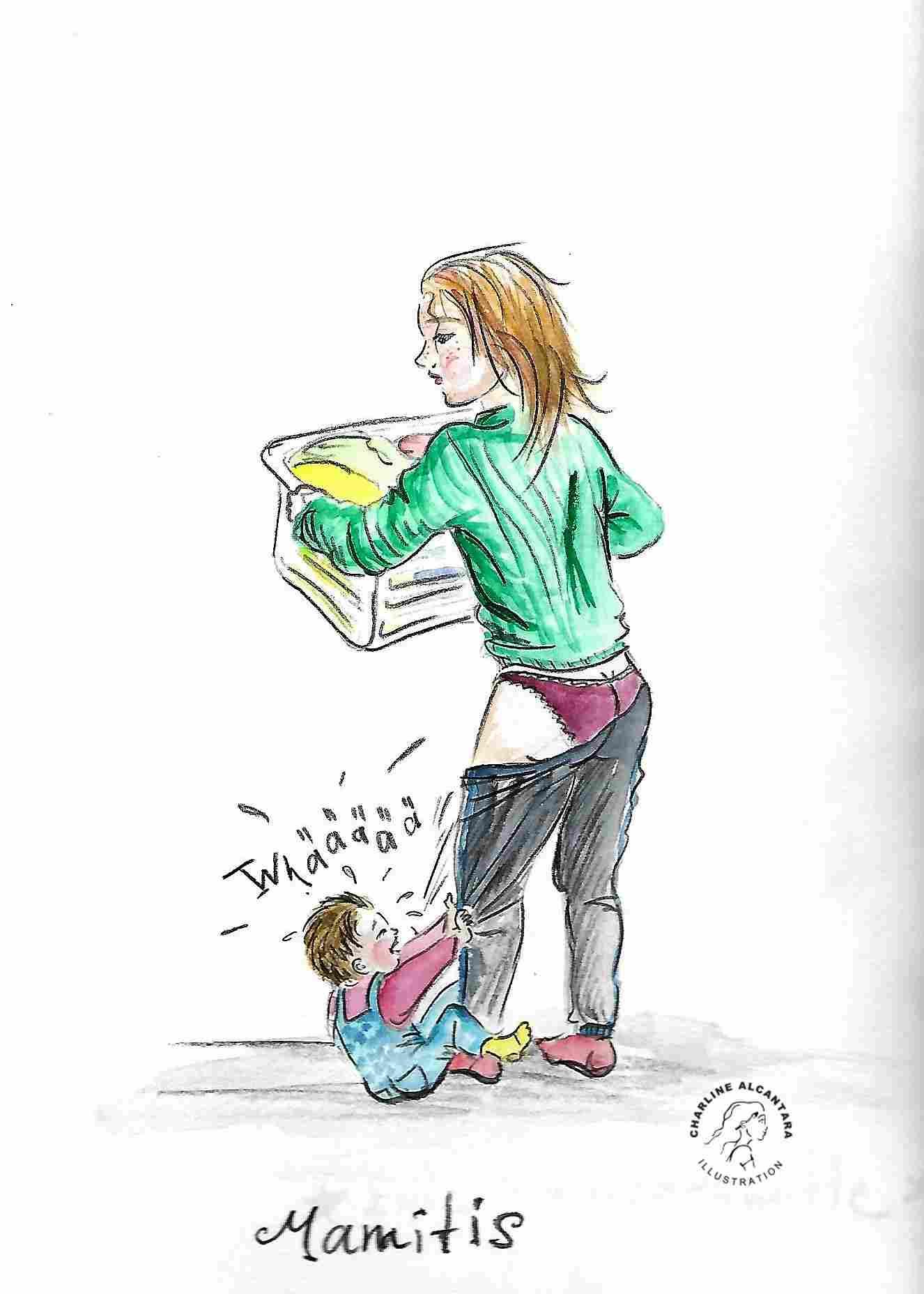 Mama mit Wäschekorb, Kind hängt an Mamas Bein