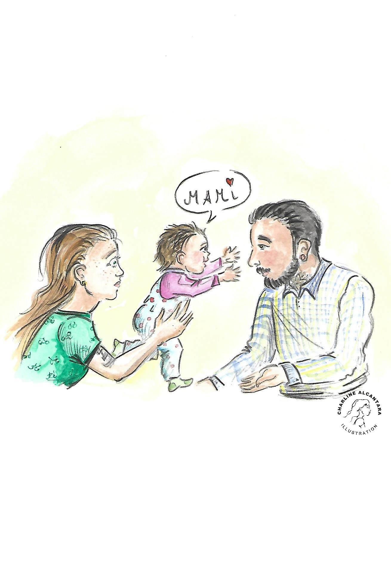 Kind auf mamas Arm will auf Papas Arm
