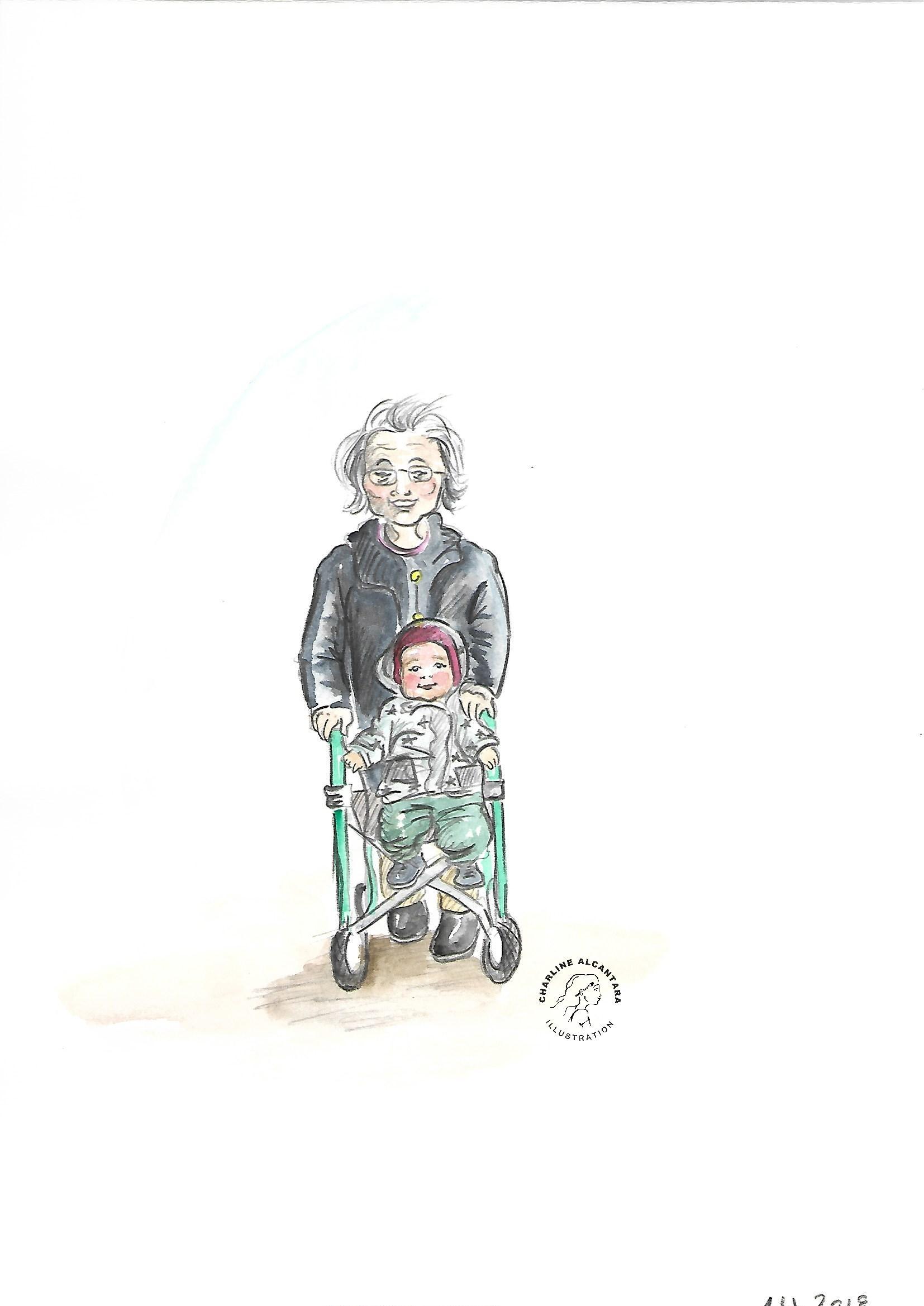 Oma und Baby mit Rollator unterwegs