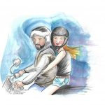 junges Paar auf Motorrad