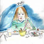 Frau tunkt versehentlich den Pinsel in die kaffeetasse statt in das Glas mit Wasser zum Auswaschen und guckt verärgert