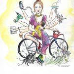 Frau mit vielen Armen, die verschiedene Werkzeuge und Dinge, die Hobbys demonstrieren, halten