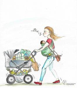 Mama kauft ein und transportiert das Kind in der Trage, die Einkäufe im Kinderwagen