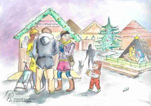 Drei Personen vor Glühweinstand auf Weihnachtsmarkt, Kleinkind hält Jesuskrippenfigur im Arm, im Hintergrund fehlt es in der Krippe, Mama guckt erschrocken